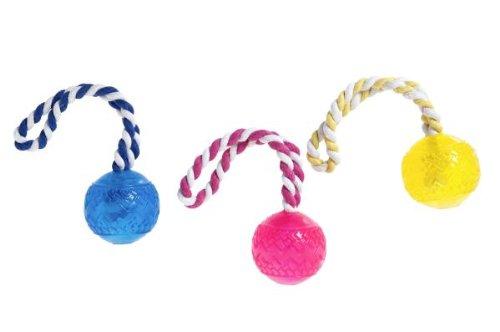 Karlie Flamingo 46950 Hundespielzeug Tpr Ball mit Seil Farblich Sortiert Durchmesser 7 cm