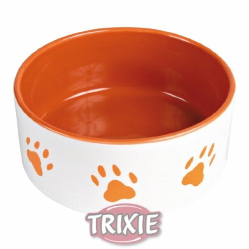 Trixie 24402 Napf mit Pfoten, Keramik 0,8 Liter/ø 16 cm, weiß / orange