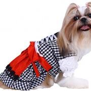 Doggy Dolly DL001 Hunde Dirndl, schwarz Kariert, Größe : S