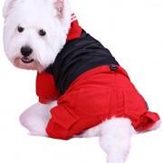 Doggy Dolly W108 Hundekombi mit Kapuze und Wasserabweisender Jacke, schwarz/rot, Größe : XL